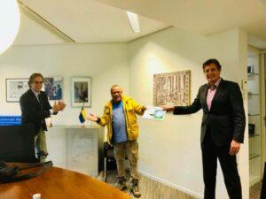 Burgemeester Rene Verhulst - kunstenaar Salman Ezzammoury - Wethouder Peter de Pater