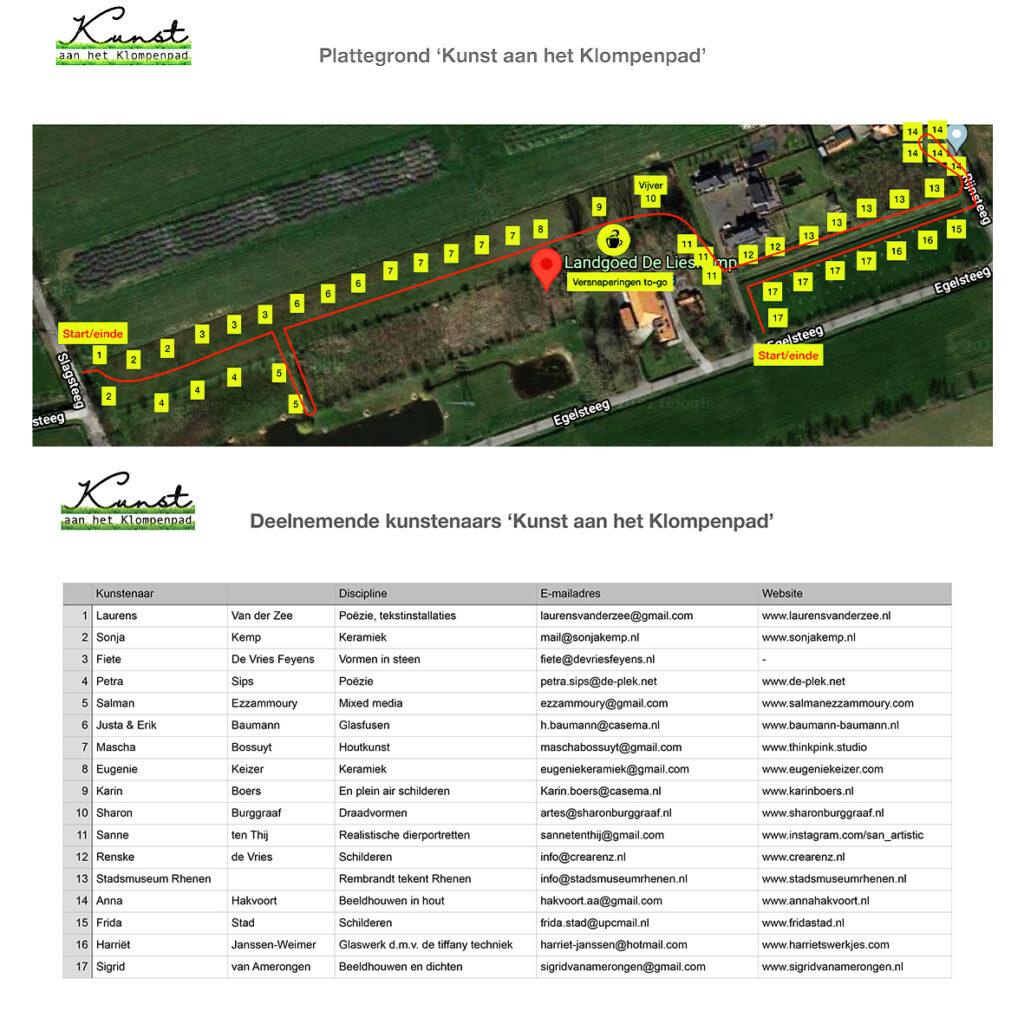 Kunst aan het Klompenpad plattegrond Landgoed De Lieskamp